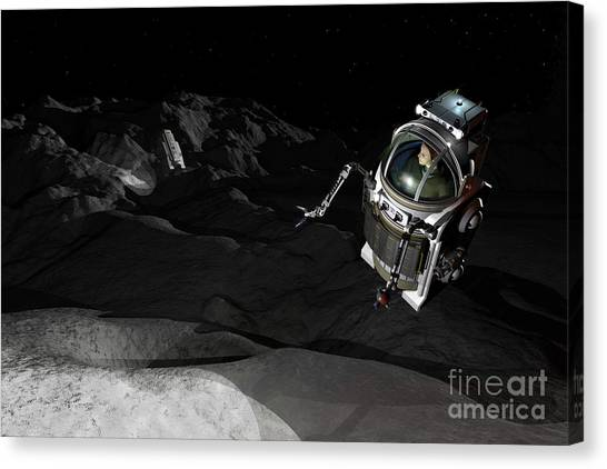 Planetoid Canvas Print - Two Manned Maneuvering Vehicles Explore by Walter Myers