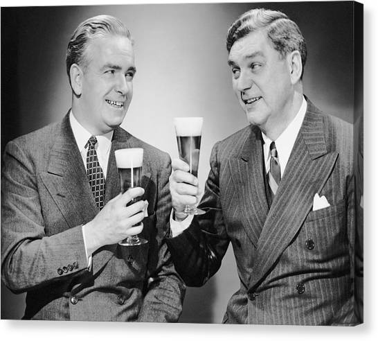 Two Men With Alcoholic Beverages Canvas Print by George Marks