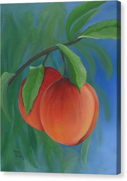 Sweet Tea Canvas Print - Two Peaches by Mary Rogers