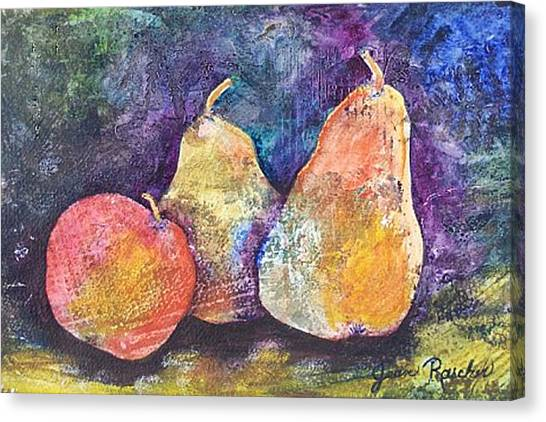 Two Pears And An Apple Canvas Print