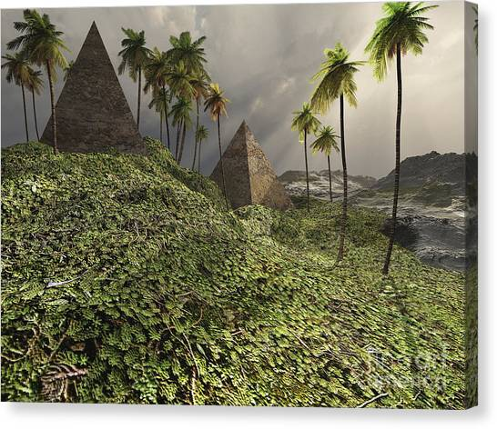 Archeology Canvas Print - Two Pyramids Sit Majestically Among by Corey Ford