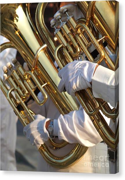 Two Tuba Players Canvas Print