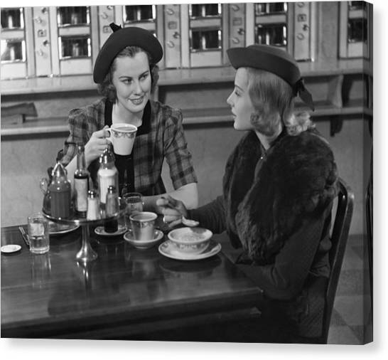 Two Women At Restaurant Canvas Print by George Marks