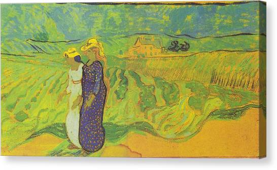 Two Women Crossing The Fields Canvas Print by Vincent Van Gogh