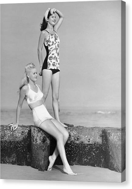 Two Women In Bathing Suits Canvas Print by George Marks