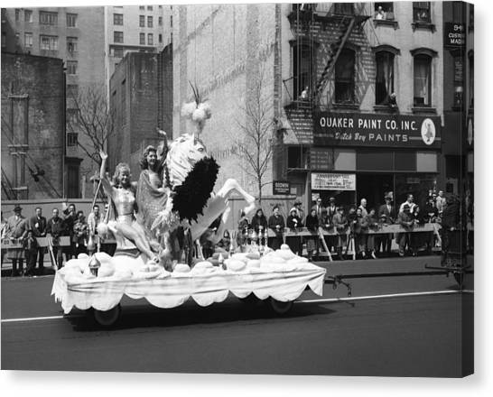 Two Women Waving From Platform During Parade Canvas Print by George Marks