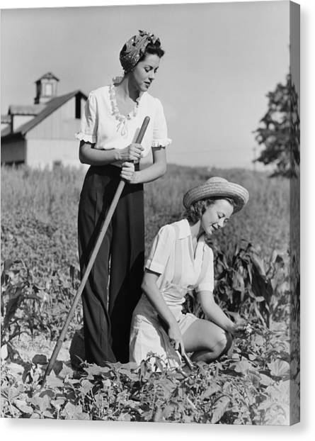 Two Women Working On Field, (b&w) Canvas Print by George Marks