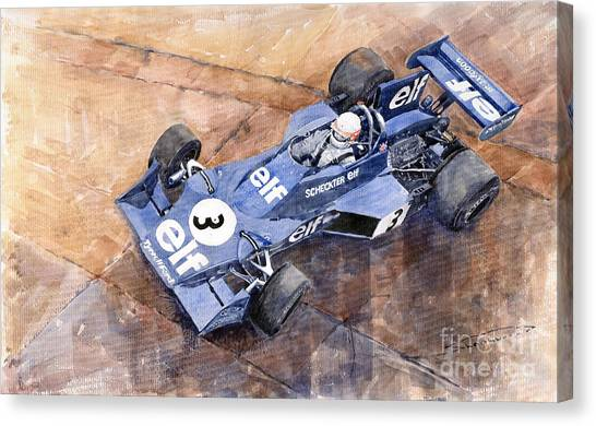 Swedish Canvas Print - Tyrrell Ford 007 Jody Scheckter 1974 Swedish Gp by Yuriy Shevchuk
