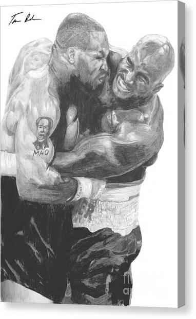 Mike Tyson Canvas Print - Tyson Vs Holyfield by Tamir Barkan