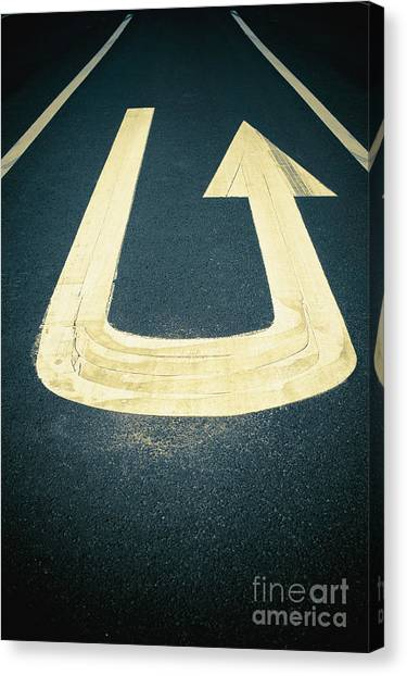Turn Signals Canvas Print - U-turn Sign On Road by Dave & Les Jacobs
