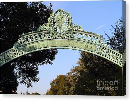 Uc Berkeley Canvas Print - Uc Berkeley . Sproul Plaza . Sather Gate . 7d10031 by Wingsdomain Art and Photography
