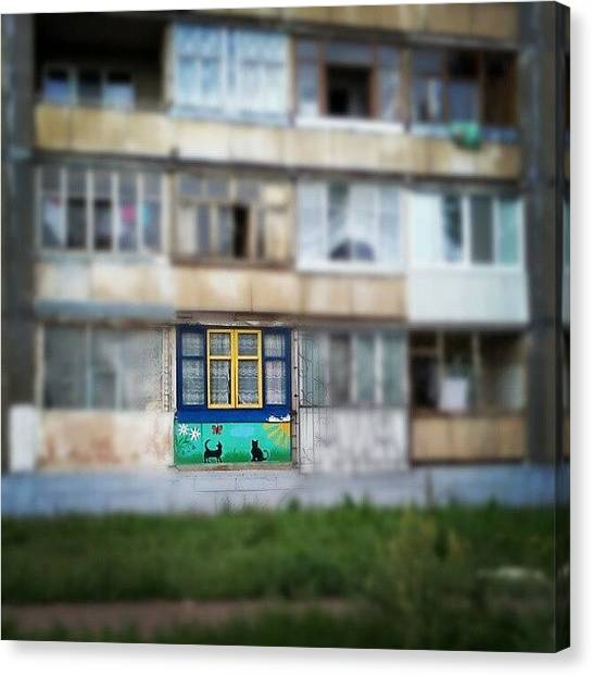 Russian Canvas Print - #ufa #russia #building #house #cat by Tatyana Radygina