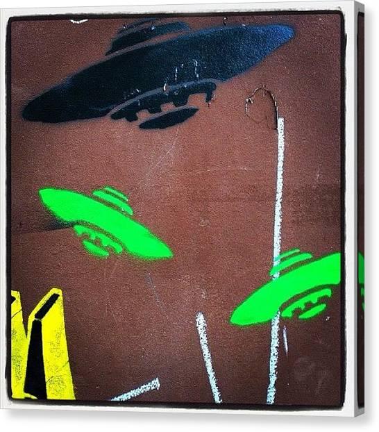 Outer Space Canvas Print - #ufo #stencil #streetart #saopaulo by Instazum Zuza