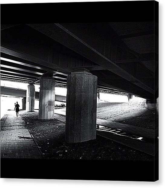 Light Canvas Print - Under The Bridge#bw# #walk #light by A Rey