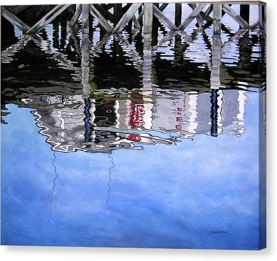 Under The Dock Canvas Print by Judy Burgarella