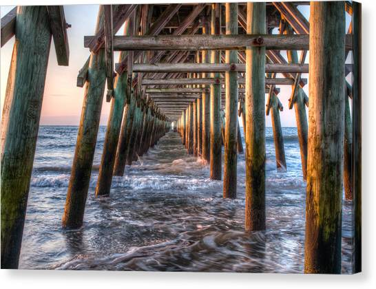 Canvas Print featuring the photograph Under The Pier by At Lands End Photography