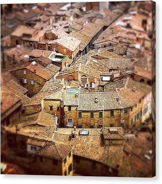 Scenic Canvas Print - Under The Tuscan Sun.. #siena #rooftops by A Rey