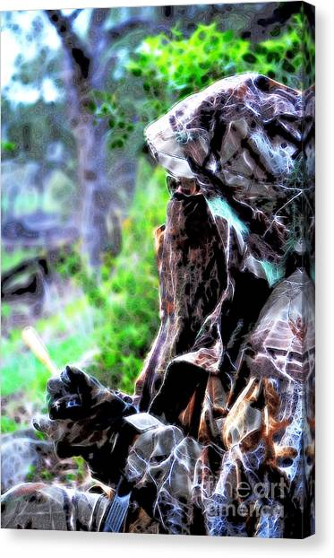 Blue Camo Canvas Print - Undercover Huntress by Donna Greene