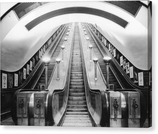 Underground Escalator Canvas Print by Archive Photos