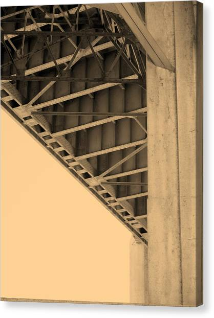 Underside Of 6th Street Bridge Canvas Print by Kevin  Break