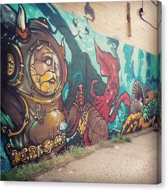 Underwater Canvas Print - #underwater #graffiti #streetart by Hayley Piche