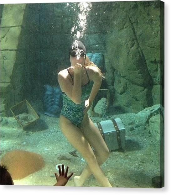 Mermaids Canvas Print - Underwater Mermaid At Seaworld by Linda Brown