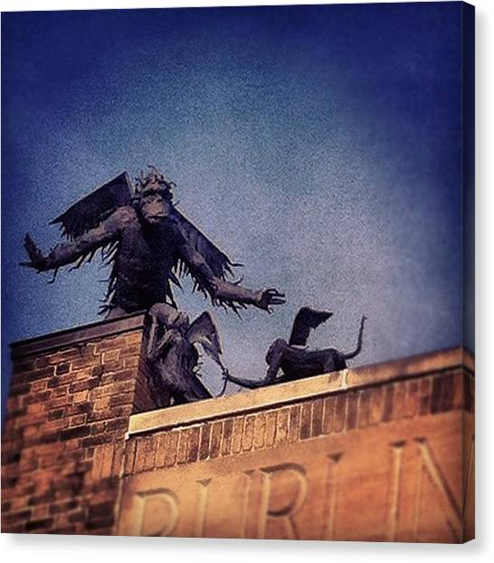 Primates Canvas Print - Unexpected Amazingness Atop A Building by H Mackenzie