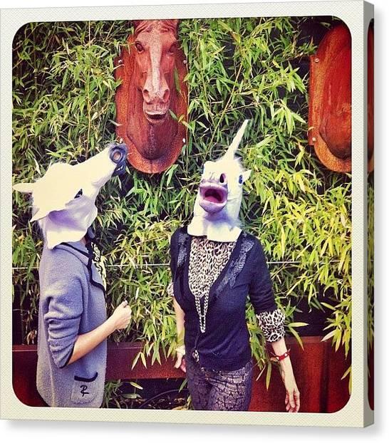 Quirky Canvas Print - Unicorns Versus Horses.  #instadaily by Maria Lankina