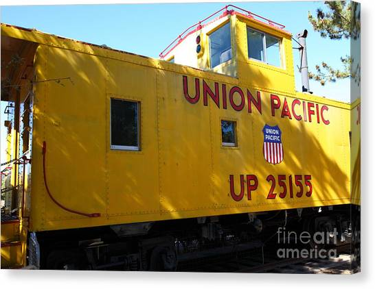 Old Caboose Canvas Print - Union Pacific Caboose - 5d19205 by Wingsdomain Art and Photography