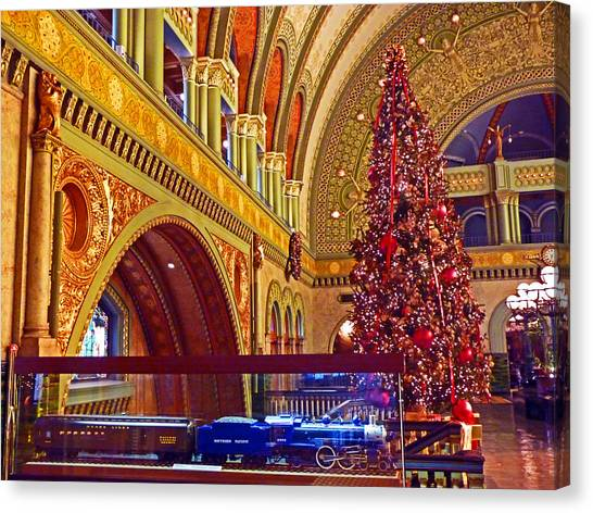 st louis union station canvas print union station christmas by william fields