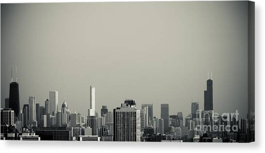 Unique Buildings In Chicago Skyline   Canvas Print