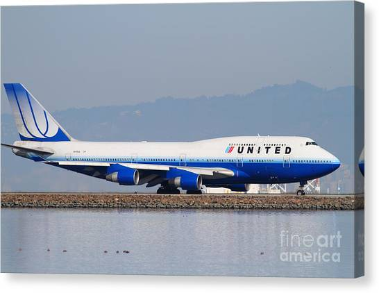 United Airlines Jet Airplane At San Francisco International Airport Sfo . 7d12006 Canvas Print by Wingsdomain Art and Photography