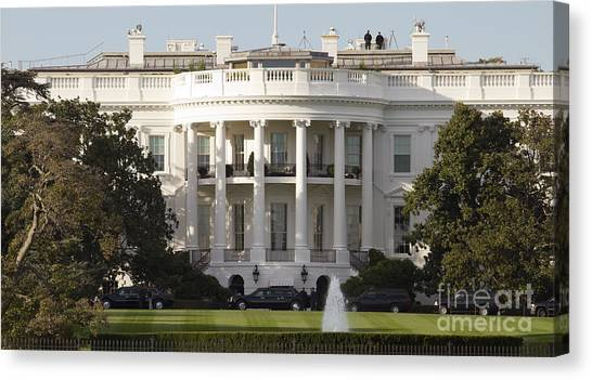 White House Canvas Print - United States White House And Presidential Motorcade by Dustin K Ryan