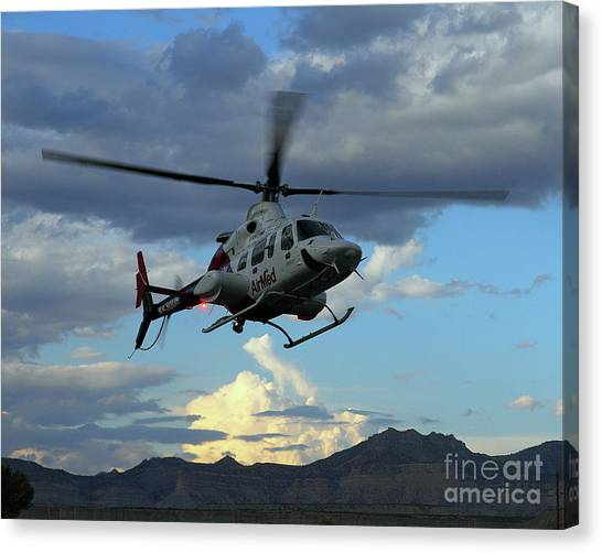 University Of Utah Canvas Print - University Of Utah Airmed Helicopter by Malcolm Howard