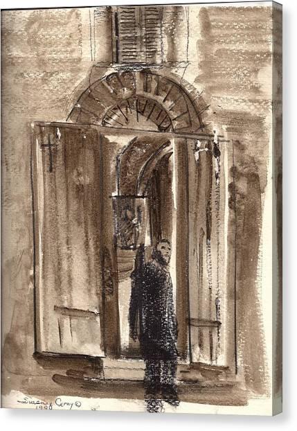 Uno Negozio In Siena Watercolor And Conte Crayon Canvas Print