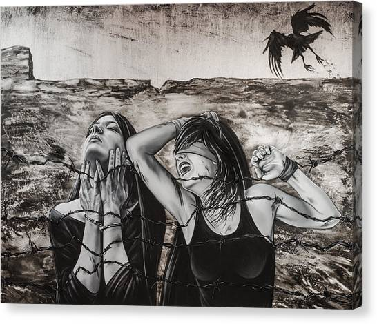 Oppression Canvas Print - Untitled by Mahtab Alizadeh