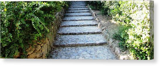 Up Hill Stairs In Parc Guell Barcelona Spain Canvas Print by John Shiron