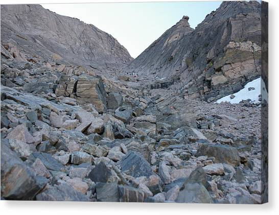 Up The Trough On Longs Peak Canvas Print by Cynthia Cox Cottam