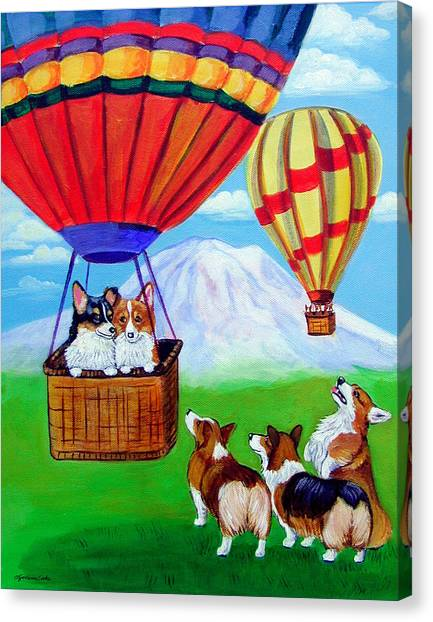 Up Up And Away - Pembroke Welsh Corgi Canvas Print by Lyn Cook