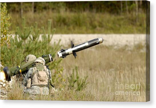 Warheads Canvas Print - U.s. Army Soldiers Firing An Fgm-148 by Stocktrek Images