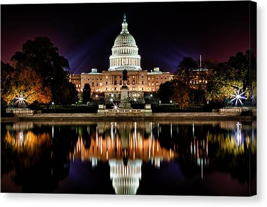 Us Capitol Building And Reflecting Pool At Fall Night 2 Canvas Print