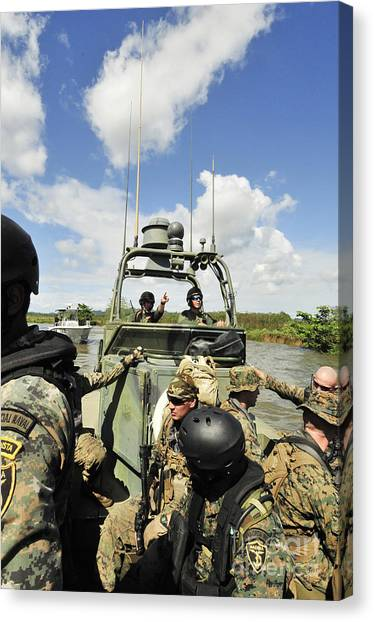 Special Forces Canvas Print - U.s. Navy Riverine Squadron by Stocktrek Images