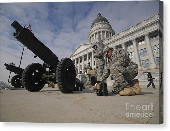 National Guard Canvas Print - U.s. Soldiers Clean Up After Firing by Stocktrek Images