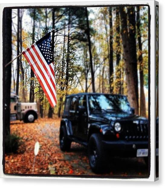 Jeep Canvas Print - #usa #american #americanflag #jeep by Danielle Smith