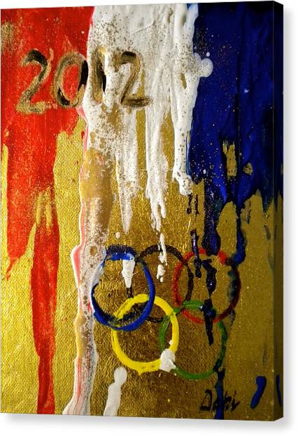 Trampoline Canvas Print - Usa Strives For The Gold by Debi Starr