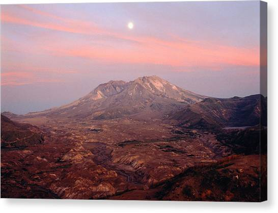 Mount St. Helens Canvas Print - Usa, Washington, Moonrise Over Mount St Helens At Sunset by Chuck Pefley