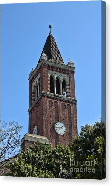 University Of Southern California Usc Canvas Print - Usc's Clock Tower by Tommy Anderson