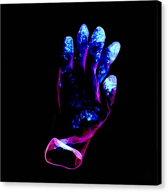 Used Surgical Glove, Negative Image Canvas Print by Kevin Curtis