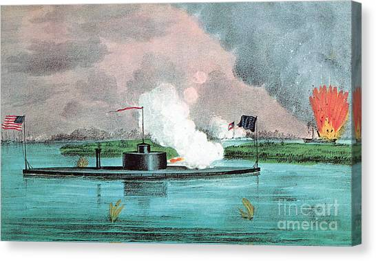 Using The River Canvas Print - Uss Montauk Destroys Rebel Steamship by Photo Researchers