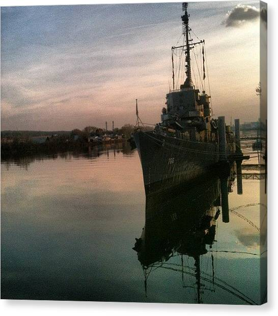 Battleship Canvas Print - #ussslater #slater #savedbythebell by Dylan Ferris